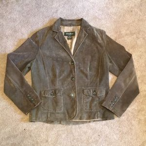 Eddie Bauer SZ Large Dusty Green Leather Jacket